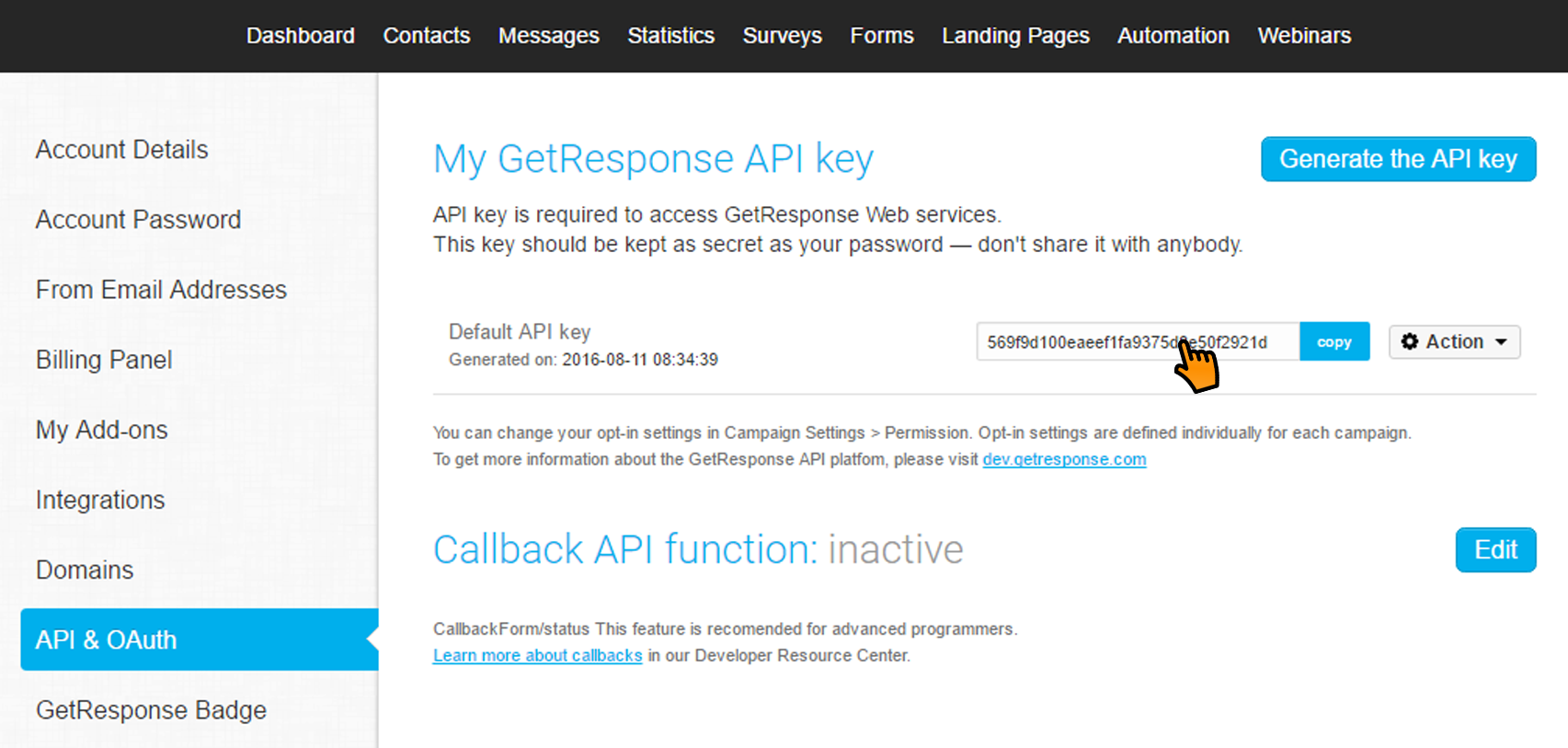 integrating optimonk campaigns with getresponse \u2013 optimonk help centerchoose getresponse api from the left sidebar menu and click on copy on the right of the api